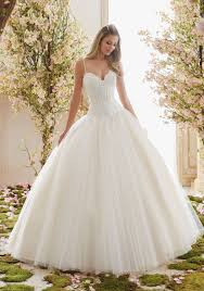 chantilly lace on tulle ball gown wedding dress style 6838 morilee