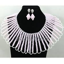 crystal choker necklace set images New designs women party choker necklace set pink nigerian wedding jpg
