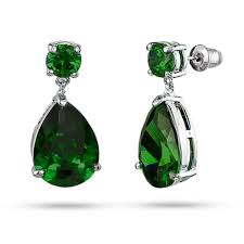emerald drop inspired pear drop emerald cz earrings s addiction