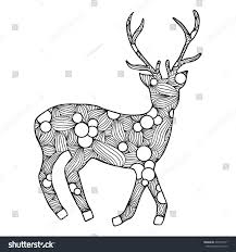 deer hand drawn deer anti stress stock vector 335749571 shutterstock