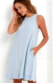 light blue shift dress cute light blue dress chambray dress shift dress 63 00