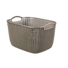 Laundry Hamper 3 Compartment by Curver 20 Qt Knit Rectangular Resin Large Storage Basket Set In