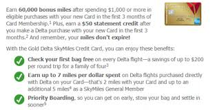 ymmv american express delta gold 60 000 miles 50 statement