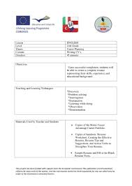 Fill In The Blank Resume How To Write A Cv Lesson Plan Turkey