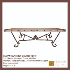 rectangular dining table iron chocolate finish copper hammered