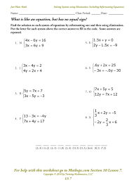 linear systems worksheet ls 7 solving systems using elimination including reformatting