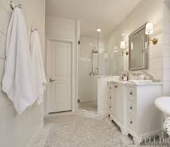 Beveled Subway Tile Shower by Ship Lap Walls Painted White Dove By Benjamin Moore New Bathroom
