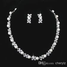 simple diamond sets wedding jewelry sets silver artificial pearl rhinestone