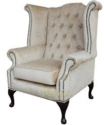 Chesterfield Wing Armchair Chesterfield Velvet Queen Anne High Back Wing Chair Perla Shell