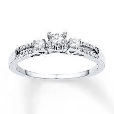 kay jewelers engagement rings kay three stone ring 1 4 ct tw diamonds 10k white gold