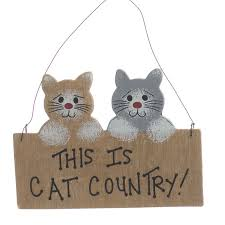cat country wood ornament sign signs ornaments home decor