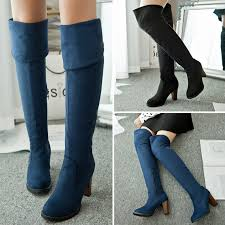 womens suede boots size 12 plus size winter chunky heel thigh high suede boots elastic