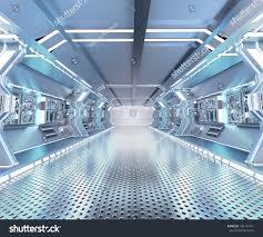 futuristic design spaceship interior metal floor stock