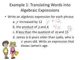 translating verbal expressions into algebraic expressions worksheets lesson 17 translating between words and algebraic expressions