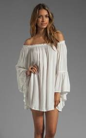 new european word shoulder loose chiffon solid color dress white