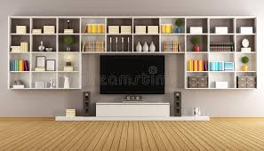 lo scaffale salotto moderno con lo scaffale e la televisione illustrazione di