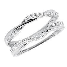 Engagement Ring And Wedding Band by 10k Gold 1 3 Ct Solitaire Enhancer Diamonds Guard Wrap Wedding