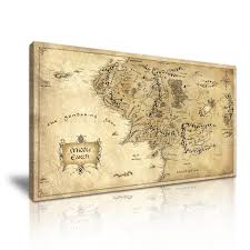 map hobbit hobbit lord of the rings middle earth map canvas modern home wall