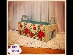 How To Decorate A Shoebox Christmas Decoupage Recycle Shoe Box Diy Christmas Basket Ideas