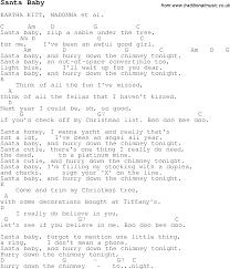 christmas carol song lyrics with chords for santa baby