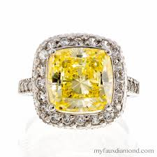 gold engagement rings cushion cut cubic zirconia canary cushion halo engagement ring my faux