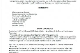 Example Resume For Maintenance Technician by Resume General Maintenance Worker Resume Objective Maintenance