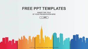 City Buildings Silhouettes And Colors Powerpoint Templates Free Power Point