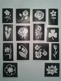 flower themed stencils for glitter tattoos airbrush henna cakes