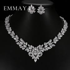 white gold necklace set images Emmaya new top white gold plate flower jewelry set aaa cubic jpg