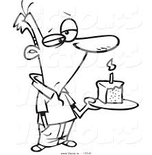 vector of a cartoon grumpy birthday man holding a slice of cake