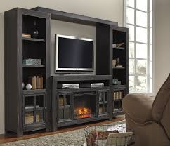 gavelston black entertainment center with fireplace u2013 regency