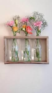 Cheap Glass Flower Vases Pallet Wood And Glass Coke Bottles Used To Create A Wall Mounted