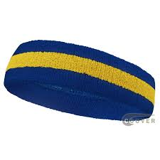 sweat headbands blue yellow blue stripe sport sweat headbands wholesale 12pieces