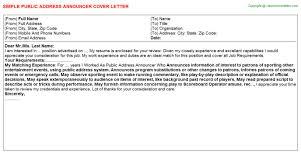 public address announcer cover letter