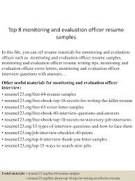 Resume Samples With Gaps In Employment by Top8monitoringandevaluationofficerresumesamples 150521075527 Lva1 App6891 Thumbnail 4 Jpg Cb U003d1432194972