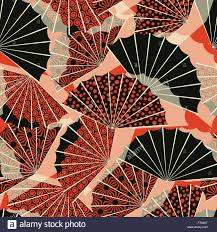 a japanese style fan shape seamless pattern with 3 different
