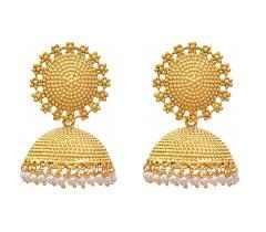 jhumki style earrings in gold buy royal bling trendy stylish fancy party wear golden pearl