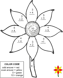 addition color by number pages kids coloring