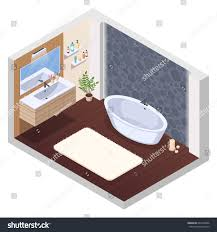 bathroom isometric interior composition jaccuzi spa stock vector