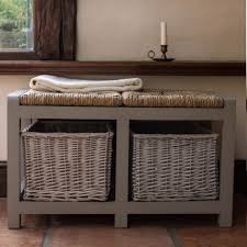 bench bench baskets white bench rattan storage baskets hall
