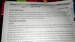 class 9 villa for sale important character sketch and word meaning