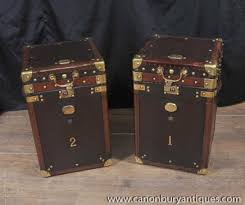 trunk coffee table set pair luggage trunk side tables case leather box coffee table side