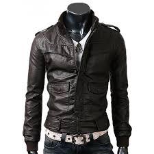 mens slim ed dark brown leather jacket