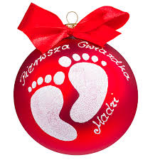 baby feet personalised bauble 4 inch red version christmas