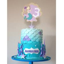 mermaid under the sea cake topper with age sand teal