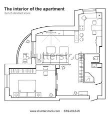 architectural plan architectural plan house top view floor stock vector 675003844