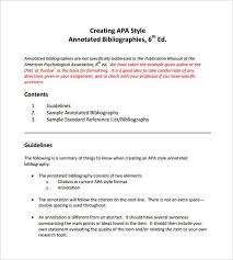 apa format directions writing a annotated bibliography in apa format