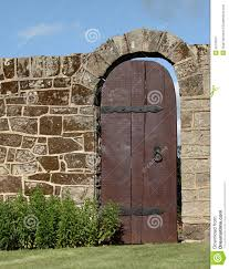 Garden Wall by Old Wood Door In Stone Garden Wall Stock Image Image 20125971