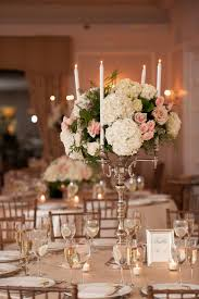 candelabra centerpieces gold candelabra centerpiece with hydrangeas