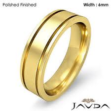 ring plain men wedding solid band 18k yellow gold flat fit plain ring 6mm 9 8